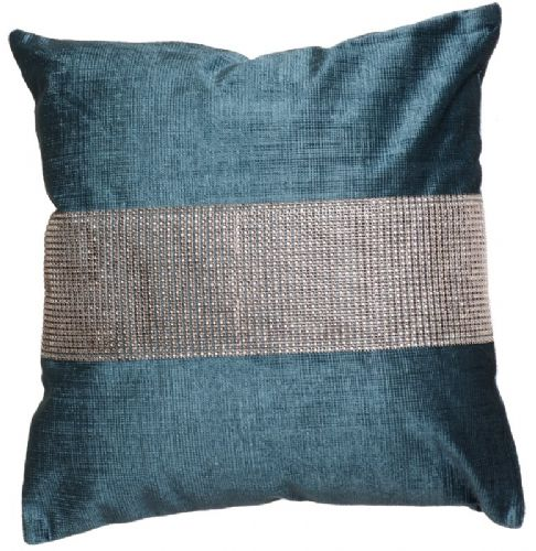 STUNNING DIAMANTE VELVET CUSHION TEAL BLUE COLOUR